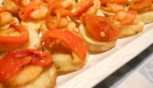 crostini di patate e mazzancolle